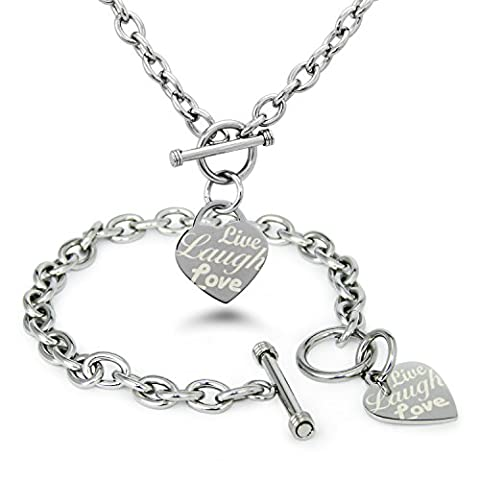 Stainless Steel Live Laugh Love Personalized Name Engraved Heart Tag Charm, Bracelet Necklace Set