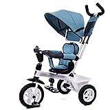 Qi Tai- Kinderwagen Kinder Dreirad Fahrrad Baby Fahrrad 1-3-5 Jahre alt Kinderwagen Trolley leichte Wagen Babywagen (Farbe : Blau)