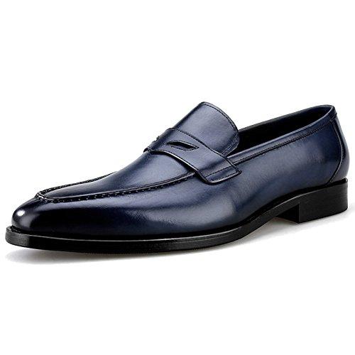 MERRYHE Business Square-Toe Echtes Leder Formale Kleid Bootsschuhe Für Männer Walking Loafers Flach Fahr Monk Schuhe,Blue-41
