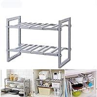 AzulLanse Under Sink Shelf Organiser Rack Extensible Organisateur pour Cuisine Salle de Bain Chambre Salon Longueur…