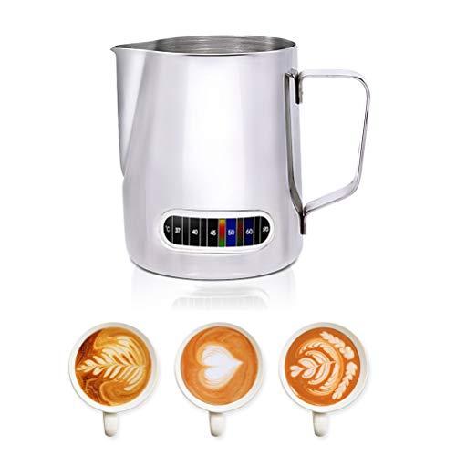 Sarplle Coffee Milchkännchen Milk Pitcher aus Edelstahl Milch Aufschäumen Krug Milchaufschäumer mit Temperaturanzeige für Cappuccino & Macchiato