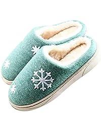 92262a0f3f65 visionreast Winter Baumwolle Pantoffeln Plüsch Wärme Weiche Hausschuhe  Kuschelige Home Rutschfeste Slippers für Herren Damen mit
