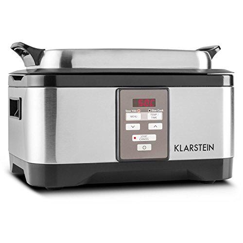 Klarstein Tastemaker - Sous-Vide Garer, Schongarer, Vakuumgarer, Niedrig-Temperatur-Garer, 6 Liter, 550 W, 40-90 °C, Touch-Bedienung, Edelstahl, Deckel, Grillrost und Gar-Einsatz, silber