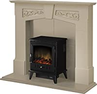 Adam Richmond Inglenook Stove Suite in Stone Effect with Aviemore Stove in Textured Black, 48 Inch