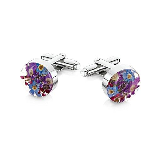 Silberschmuck mit echten Blüten - Manschettenknöpfe - blaue und lila Vergissmeinnicht
