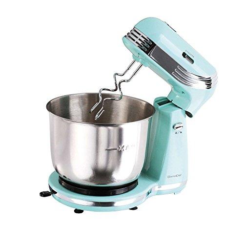 Robot da cucina in stile retrò con ciotola in acciaio inox da 3 litri (impastatrice, 2500 Watt, 6 livelli di velocità, frusta, gancio per impastare, turchese)