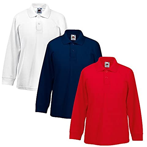 Fruit Of The Loom Lot de 3 polos à manches longues pour enfant 65/35 Uniforme scolaire pour garçons et filles Disponible en plusieurs couleurs/tailles - blanc - 9-11 ans 81 cm