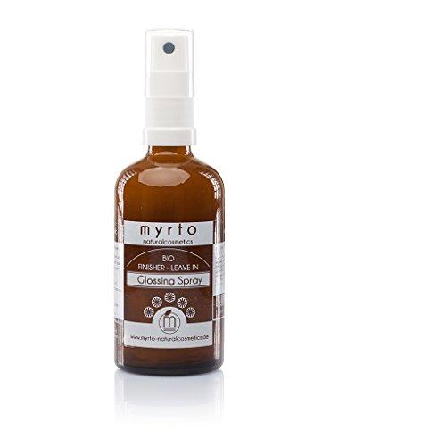 myrto-naturalcosmetics - Bio Finisher Glossing Spray - Leave-in Conditioner mit Hitzeschutz | Glanz-Föhnspray ✔ Anti Frizz ✔ ohne Silikone ✔ vegan ✔ Naturkosmetik ✔ Braunglas - 100 ml -