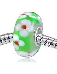 MATERIA Schmuck Muranoglas Beads grün mit Blumen weiß - Bead Murano Glas mit 925 Sterling Silber Hülse #535