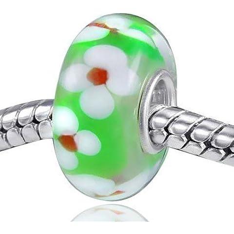 MATERIA gioielli in vetro di Murano con perline in verde con fiori bianco - vetro Murano charm in argento Sterling 925 con tubo #535
