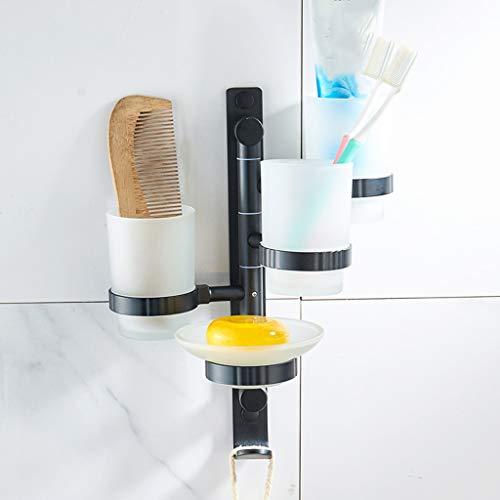 YHDD Free Punch Wc Mund Tasse Raum Aluminium Badezimmer Rack Zahnbürste Getränkehalter Vier Familie Cup Holder (Design : 1) Glas Punch Cup