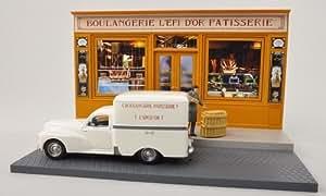 Peugeot Diorama: 203 Boîte, ''Boulangerie Patisserie L'Epi D'Or'' , voiture miniature, Miniature déjà montée, SpecialC.-67 1:43