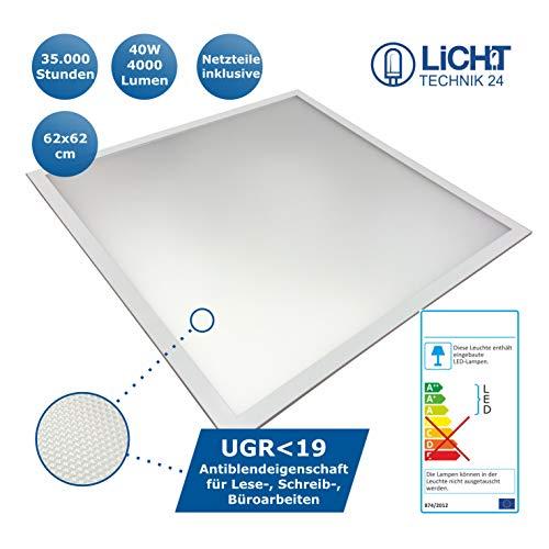 Lichttechnik24® LED Panel UGR<19, 620x620mm, 4000lm ultraslim, 40W, inkl. Netzteil, LED Bürolampe für Odenwalddecke, Rasterleuchten, Deckenleuchte 62x62 [Energieklasse A+] (neutralweiß, 1er Pack)