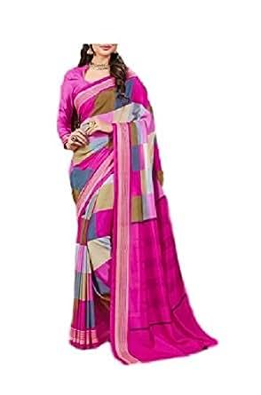 Zeena Fabs Women's Crepe Saree (zeenaF_004, multicoloured, freesize)