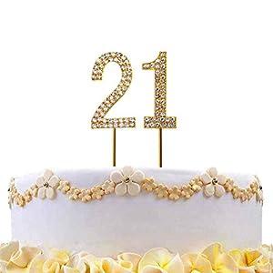 Gifts 4 All Occasions Limited SHATCHI-811 - Decoración para tarta con diseño de número 21, color dorado