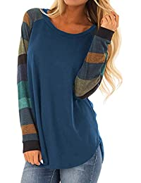 105df4e44fe Asvivid Women Long Sleeve Color Block Loose T Shirt Casual Oversized Sweatshirt  Tee Blouse Top Size