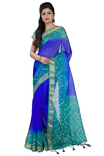 Rajnandini Women's Cotton Saree (Joplsrs1024F_Blue)