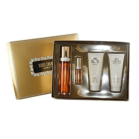 White Diamonds 4 Pc. Gift Set ( Eau De Toilette Spray 3.3 Oz & 0.33 Oz + Perfumed Body Lotion 3.3 Oz + Gentle Moisturizing Body Wash 3.3 Oz ) for Women