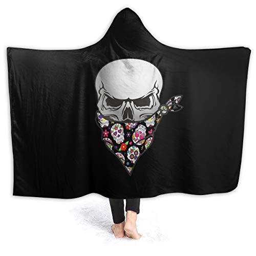 """WUQIAN mexikanisches Bandana mit Totenkopf-Motiv, tragbare Decke, 3D-Bedruckt, weiche Kapuze, für Kinder, Erwachsene, Teenager, Flanell, Schwarz, 60""""x50"""""""