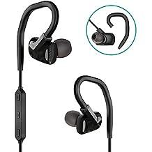GIARIDE Auriculares Bluetooth inalámbricos Deportivos, Ganchos de Orejas Desmontables intrauditivos con micrófono Resistente al Sudor