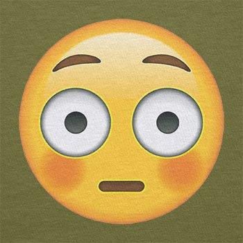 Texlab–Flushed Face Emoji–sacchetto di stoffa Oliva