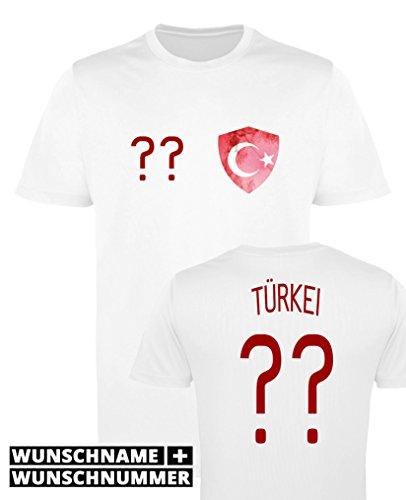 Comedy Shirts - Türkei Trikot - Wappen: Klein - Wunsch - Herren Trikot - Weiss/Rot Gr. M