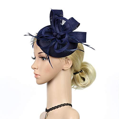 CANDLLY Stirnband Damen, Mode Handgefertigte Frauen Haarspange Feder Party Hochzeit Lässig Fascinator Kopfschmuck Zubehör(Marine,One ()
