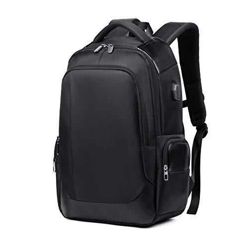 DONZ Herren Damen Laptop Rucksack Schulrucksack Canvas 15.6 Zoll Laptoprucksack Business Backpack Daypack Reiserucksack mit USB-Ladeanschluss,Black