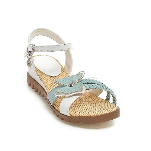 VogueZone009 Donna Fibbia Punta Aperta Tacco Basso Luccichio Heeled-Sandals Azzurro