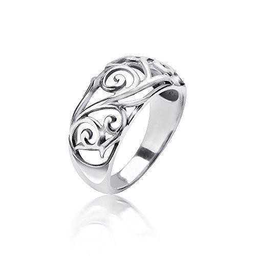 MATERIA Damen Ring floral 925 Sterling Silber antik breit massiv 4,7g deutsche Fertigung #SR-107, Ringgrößen:54 (17.2 mm Ø) (Antike Sterling Silber)