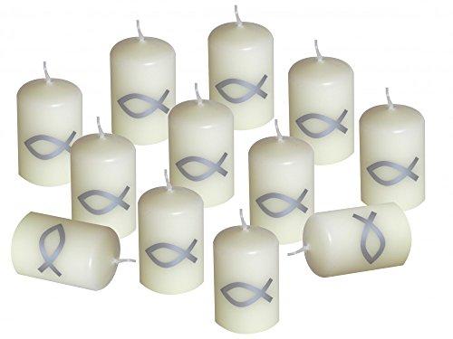 12 Kerzen Votiverze Kommunion Tischdeko Konfirmation Fisch silber