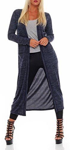 malito Damen Strickmantel | melierter Cardigan | angesagter Oversize Look | elegante Weste - Jacke 5030 (dunkelblau)
