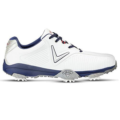 Callaway Chev Mulligan, Chaussures de Golf Homme, Blanc/Bleu, 42 EU