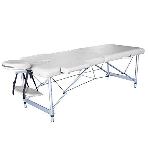 Preisvergleich Produktbild MCTECH® Leichte tragbare Mobile Massageliegen Profi-Massageliege Arlington mit 3 Abschnitt für Therapie Tatoo Salon (2 Zonen,  Beige)