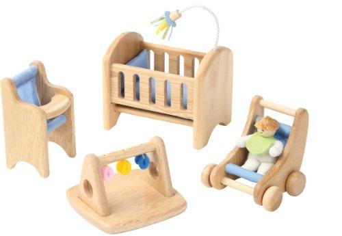 Voila - Mobili in legno per la nursery della casa delle bambole, 4 pz., 3+ anni