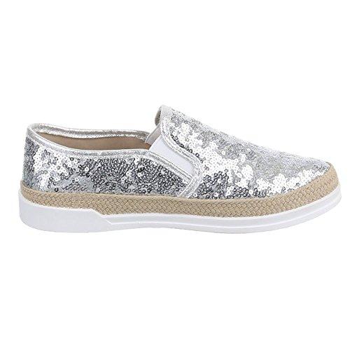 Ital-Design , chaussons dintérieur femme Silber
