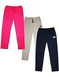 KIFAYATI BAZAR Women's Cotton Hosiery Solid Pajama (Pack of 3) (Women girls track pant lower multi color_Multicoloured_Free Size)
