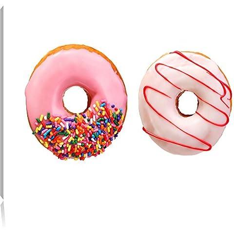Lustrate Donuts, formato: 120x80 su tela, XXL enormi immagini completamente Pagina con la barella, stampa (Fragola Caffè Aromatizzato)