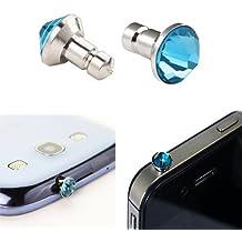 Donkeyphone - TAPÓN ANTIPOLVO BRILLANTE CELESTE PROTECTOR ENTRADA AURICULARES (AUDIO JACK) UNIVERSAL PARA SMARTPHONE, TABLET, iPHONE, iPOD, iPAD, GALAXY, ...