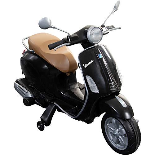 Pentagon Sports Kinderroller Vespa Primavera 6V Kinder Scooter Piaggio Elektro ab 3 Fahrzeug (schwarz)