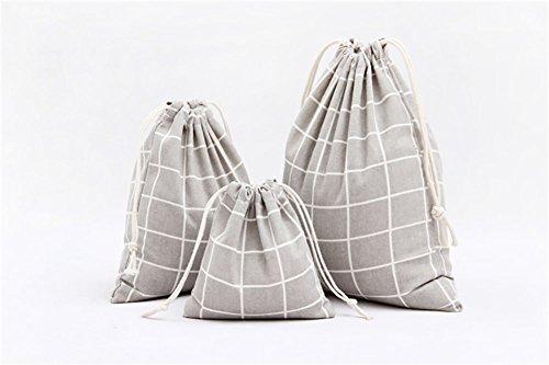 weimay Sac de stockage treillis de Noël sac de stockage en cordon de coton avec cordon Sac de décombres, coton, paquet de 2 (m, s seulement, non L) – Blanc 14 X 16cm,19 X 24cm gris