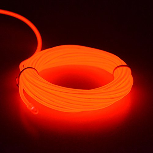 ire Kabel Lichtschnur Band Lichtschlauch Leucht Schnüre Neon Draht Lichtband für Weihnachtsfeiern Disco Party Halloween Kostüm Kleidung +Batterie Box (Rot) (Halloween Kostüm Party Musik)
