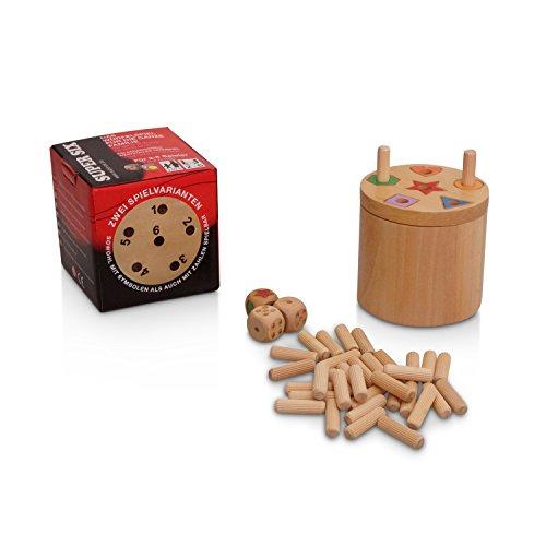 BestSaller 3020 'SUPER SIX' Holz, beidseitig bespielbar, auch für Kinder, 36 Spielstäbchen & 3 Würfel, Natur (1 Stück) -