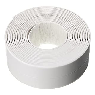 IGNPION Self-Adhesive PE Caulk Strip Sealant Roll Sealing Tape Decorative Trim for Bathroom, Kitchen and Toilet(38mm x 3.35m) (White)