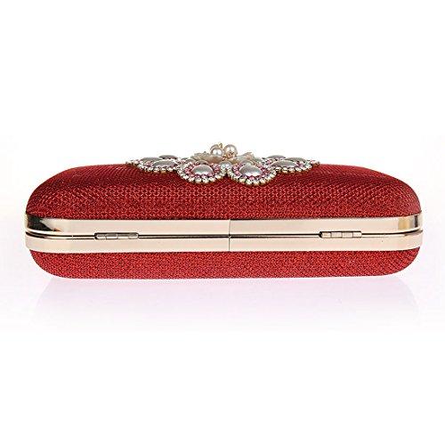 KAXIDY Pochette Eleganti da Cerimonia Pochette Borsa Sposa Borsa Sera Rosso
