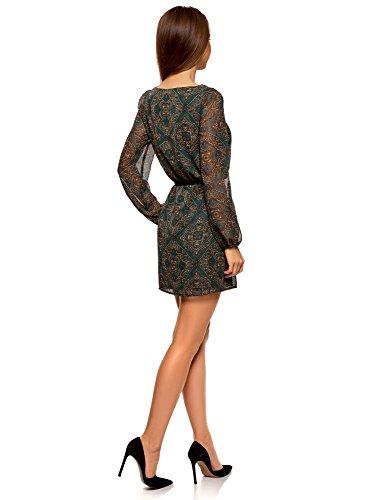 oodji Ultra Damen Chiffon-Kleid mit Gürtel Grün (6957E)