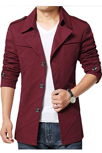 MatchLife Homme Militaire Slim Fit Trench Parka Manteau Style1-Rouge