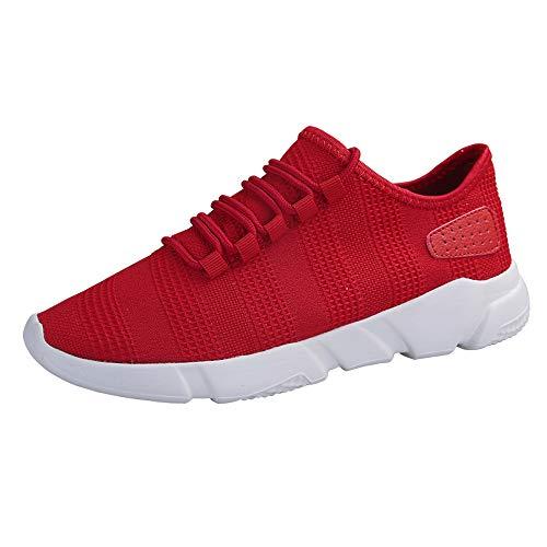 JiaMeng Moda Zapatillas Running para Hombre Aire Libre y Deporte Transpirables Beathable Zapatos de Malla Zapatillas de Deporte Casuales con Cordones Zapatos Deportivos(Rojo,EU42=CN43)