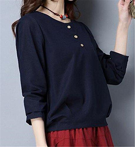 Aoliait Femme Bouton T-Shirt Col Rond à Manches Longues Tops Décontractée Couleur Unie Hauts Vintage Détendu Blouse blue