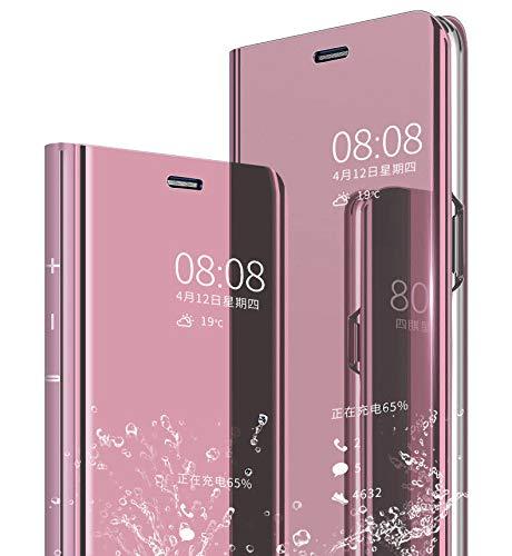 JAMMYLIZARD Smart View Hülle für Huawei P20 Pro | Sichtfenster Spiegel Semi-Transparente Schutzhülle Flip Case Handyhülle Cover, Pink